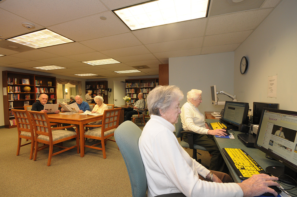 The Library At The Shores is a regular gathering place for seniors who love reading, and surfing...