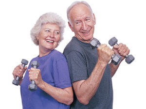 Male and female senior holding weights
