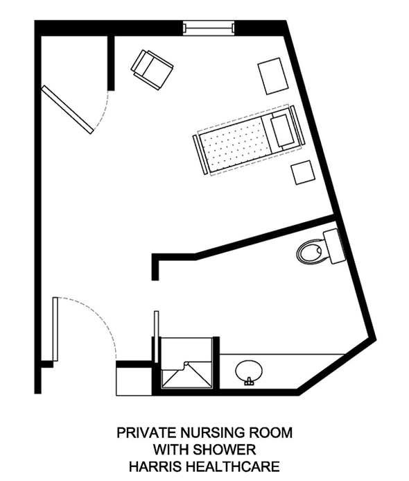 Private Nursing Room with Shower Harris Healthcare