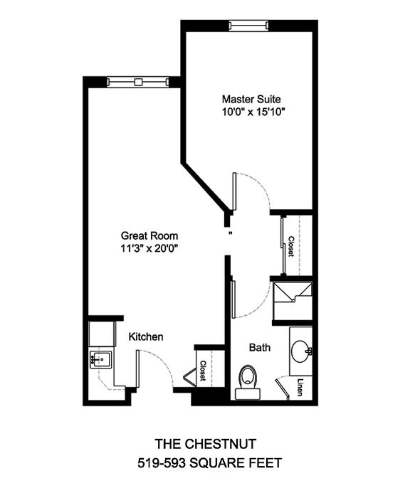 The Chestnut 519-593 Square Feet