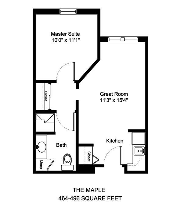 The Maple 464-496 Square Feet