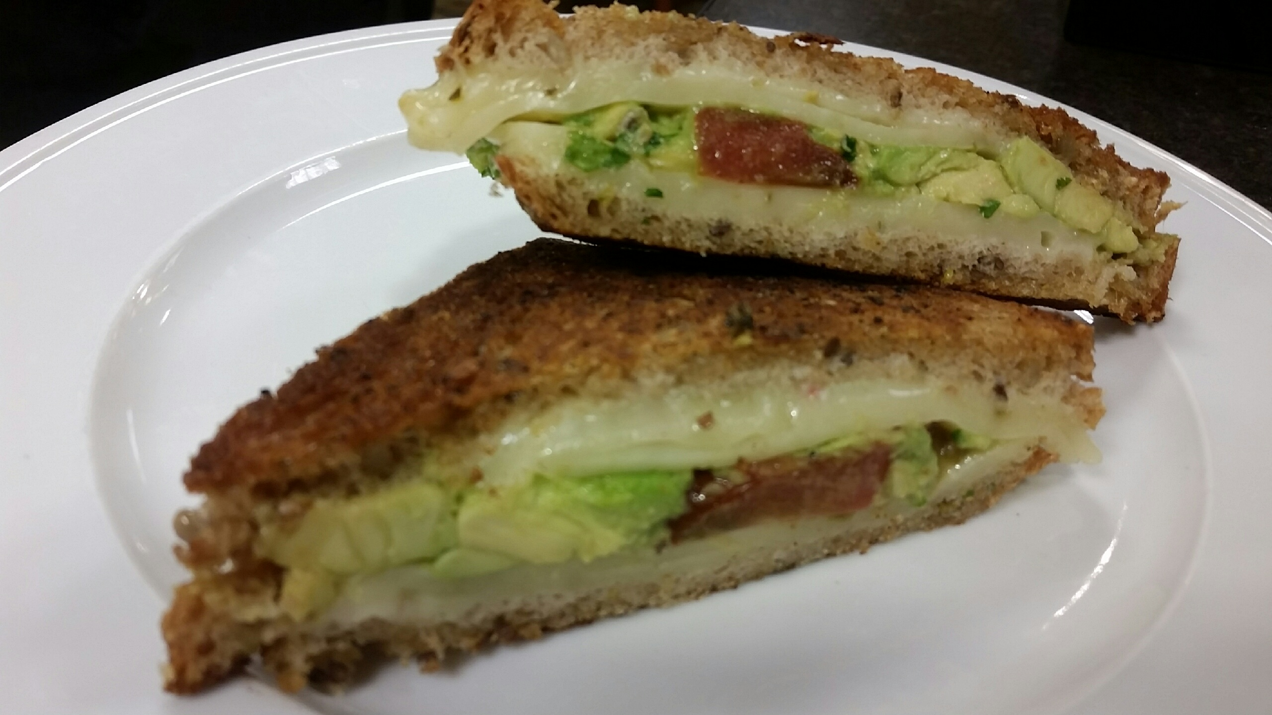 Cheesy grilled cheese reinvented with avocado