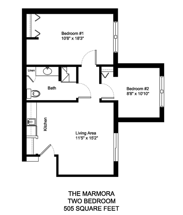 The Marmora Two Bedroom 505 Square Feet